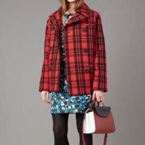 Kate Spade Saturday Wool Coat Buffalo Plaid Double
